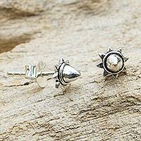 Sterling silver stud earrings, 'Acorn Star' - Acorn Theme Fair Trade Silver Stud Earrings
