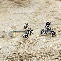 Sterling silver stud earrings, 'Celtic Spiral' - Celtic Inspired Artisan Crafted Silver Spiral Stud Earrings