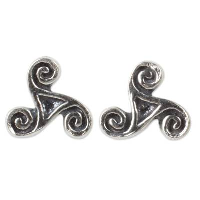 Celtic Inspired Artisan Crafted Silver Spiral Stud Earrings