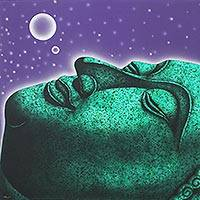 'The Sukhothai Meditation' - Buddha in Green and Purple Signed Painting from Thailand