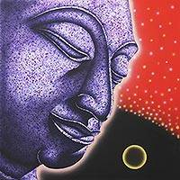 'The Ayutthaya Meditation l' - Buddhism Art Signed Buddha Painting from Thailand