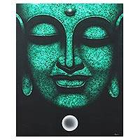 'The Khmer Meditation II' - Buddha and Moon Signed Painting in Green and Black