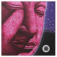 'The Ayutthaya Meditation II' - Buddha in Pink Signed Painting from Thailand