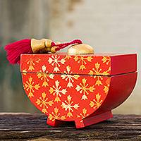 Decorative wood box, 'Golden Thai Stars' - Silk Screen Stars on Red Decorative Wood Box from Thailand