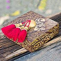 Wood jewelry box, 'Coffee Brown Gold' - Artisan Crafted Jewelry Box in Red and Brown with Tassels