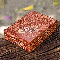 "Wood jewelry box, 'Mae Ping in Wine' (6""x4.5"") - Gold Leaves on Wine Red Wood Jewelry Box  (6""x4.5"")"