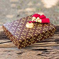 Wood jewelry box, 'Floral Gold in Brown' - Red Jewelry Box with Golden Stars and 4 Compartments