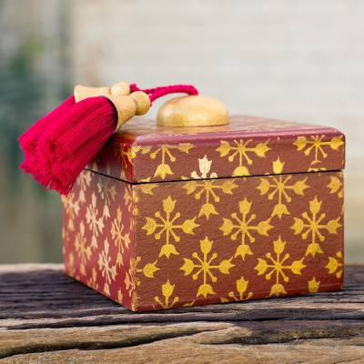 Wood jewelry box, 'Stars of Gold' - Fair Trade Thai Jewelry Box Artisan Crafted in Wine Red