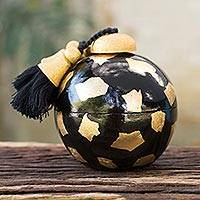 Decorative wood box, 'Black Golden Bauble' - Artisan Crafted Wood Decorative Box in Black and Gold