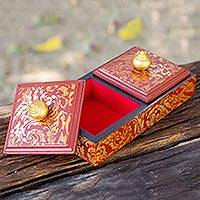 Wood jewelry box, 'Wine Stupa Treasures' - Artisan Crafted Jewelry Box in Wine and Gold 2 Compartments