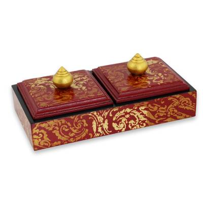 Artisan Crafted Jewelry Box in Wine and Gold 2 Compartments Wine