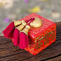 Wood jewelry box, 'Golden Wreaths on Scarlet' - Red and Gold Hand Crafted Jewelry Box from Thailand