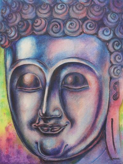 'Thailand's Peacefulness' - Thailand Buddha Portrait in Blue and Violet