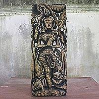 Teak relief panel, 'Guard Us' (left) - Artisan Carved Thai Relief Sculpture in Teak (Left)