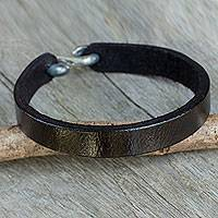 Men's leather wristband bracelet, 'Minimalist Black' - Minimalist Artisan Crafted Men's Black Leather Bracelet