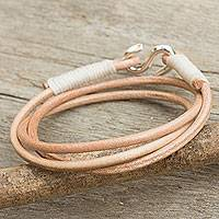 Leather and silver wrap bracelet, 'Slender Fawn' - Modern Tan Leather Wrap Bracelet from Thailand