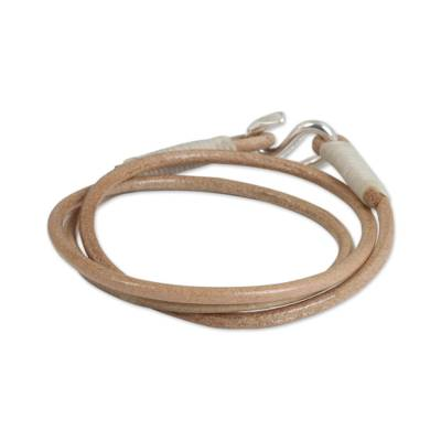 Modern Tan Leather Wrap Bracelet from Thailand