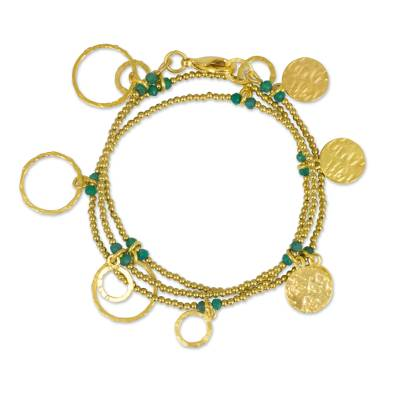 Gold Plated Wrap Charm Bracelet with Green Chalcedony