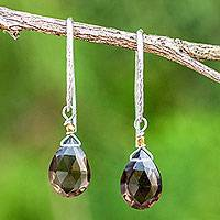 Gold accent smoky quartz dangle earrings, 'Effortless Glam' - Artisan Crafted Smoky Quartz Gold Accent Earrings