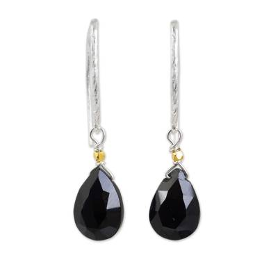 Gold accent onyx dangle earrings, 'Effortless Glam' - Black Onyx Artisan Crafted Gold Accent Earrings