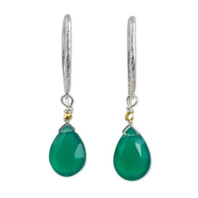 Green Chalcedony Gold Accent Earrings with Silver Hooks