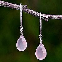 Gold accent chalcedony dangle earrings, 'Effortless Pink Glam' - Silver Handcrafted Pink Chalcedony Gold Accent Earrings