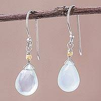 Gold accent chalcedony dangle earrings, 'Effortless Blue Glam' - Thailand Blue Chalcedony Gold Accent Silver Earrings
