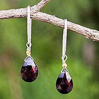 Gold accent garnet dangle earrings, 'Effortless Glam' - Garnet Gold Accent Artisan Crafted Silver Earrings