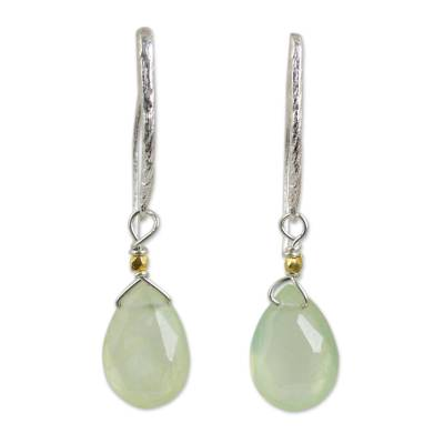 Gold accent prehnite dangle earrings, 'Effortless Glam' - Artisan Crafted Prehnite Gold Accent Earrings