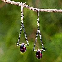 Garnet dangle earrings, 'Justice' - Garnet Sterling and Gold Plated Dangle Earrings