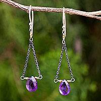 Amethyst dangle earrings, 'Justice' - Amethyst Dangle Earrings with Contrasting Finishes