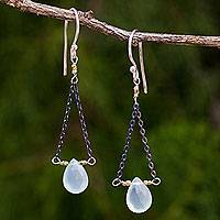 Blue chalcedony dangle earrings, 'Justice' - Handmade Dangle Earrings with Blue Chalcedony