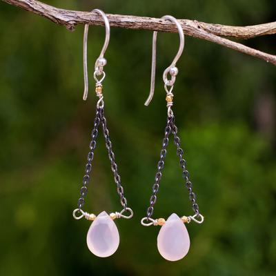 Pink chalcedony dangle earrings, 'Justice' - Artisan Crafted Pink Chalcedony Dangle Earrings