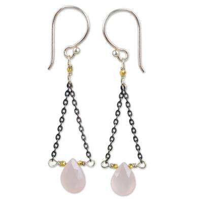 Artisan Crafted Pink Chalcedony Dangle Earrings