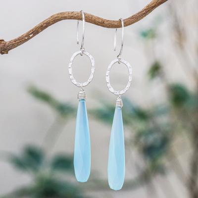 Blue chalcedony dangle earrings, 'Exhilarated' - Blue Chalcedony Dangle Earrings with Hammered Silver