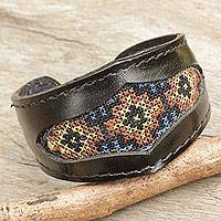 Leather and cotton cuff bracelet, 'Karen Cross Stitch' - Handcrafted Leather Bracelet with Karen Tribe Embroidery