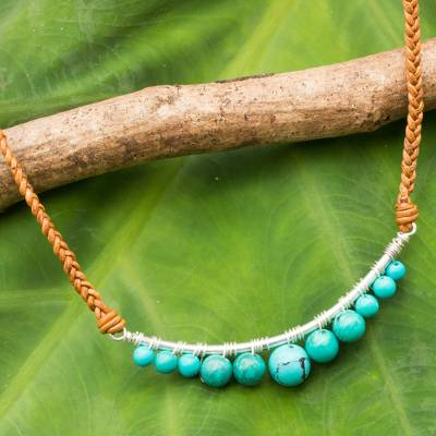 Calcite and leather pendant necklace, 'Ko Phangan Beach' - Calcite and Braided Leather Necklace with Sterling Silver