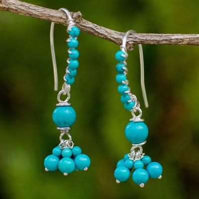 Calcite beaded dangle earrings, 'Celestial Dancer' - Thai Handcrafted Calcite and Sterling Silver Earrings