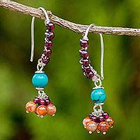 Garnet and jasper dangle earrings, 'Folk Dancer'