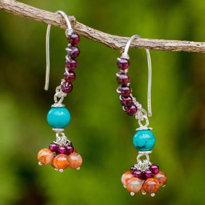 Garnet and jasper dangle earrings, 'Folk Dancer' - Thai Handcrafted Gemstone Dangle Earrings