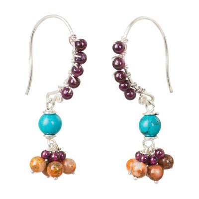 Garnet and jasper dangle earrings, 'Folk Dancer' - Thai Handcrafted Gemstone Dangle Earrings