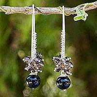 Onyx and smoky quartz cluster earrings, 'Casual Enchantment' - Thai Artisan Crafted Onyx Cluster Earrings with Smoky Quartz