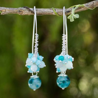 Quartz cluster earrings, 'Casual Enchantment' - Blue and White Quartz Handcrafted Silver Cluster Earrings