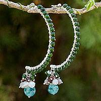 Quartz and agate half-hoop earrings, 'Happy Chorus' - Silver Half Hoop Earrings with Quartz and Agate