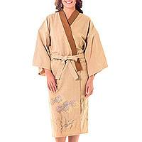 Cotton robe, 'Tan Meadow' - Hand Painted Tan Cotton Women's Robe from Thailand
