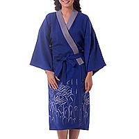 Cotton robe, 'Blue Meadow' - Thai Blue Cotton Hand Painted Women's Robe