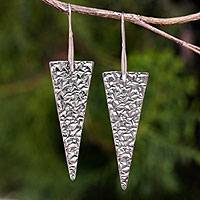 Sterling silver dangle earrings, 'Audacious' - Modern Textured Sterling Silver Dangle Earrings