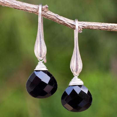 Onyx dangle earrings, 'Sophisticated Ebony' - Sterling Silver Dangle Earrings with Onyx Briolettes