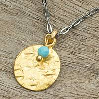 Gold plated pendant necklace, 'Aqua Harvest Moon' - Thailand Artisan Crafted 24k Gold Plated Calcite Necklace