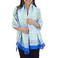 Rayon and silk blend shawl, 'Cool Blue Plaid' - Blue and White Handcrafted Silk Blend Shawl with Green